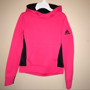 Adidas Youth Climawarm pullover hoodie pink medium